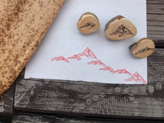 Mountain range stamp set by HandCarvedStamps on Etsy