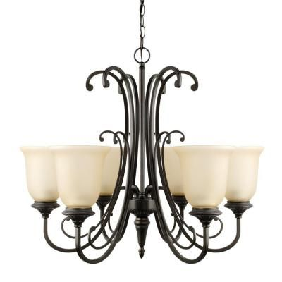 $150 home Depot Globe Electric Beverly 6-Light Oil Rubbed Bronze Chandelier with Amber Glass Shade