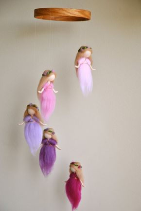 Waldorf Ispired needle felted mobile: The Pink and Purple Colors Wool Fairies (circle natural wood or wrapped with wool)