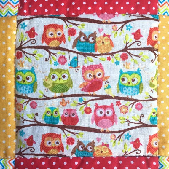 Baby's Bedding Set - Owl Quilt and Bunting - Single Bed Size - Toddler Bedding