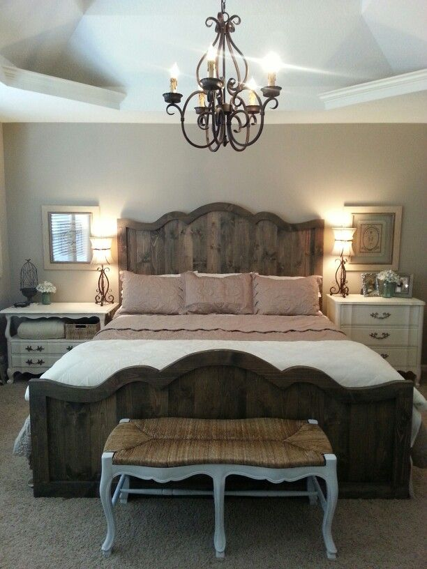 Love my new french farmhouse chic bed and bedroom rustic Jewish master bedroom two beds