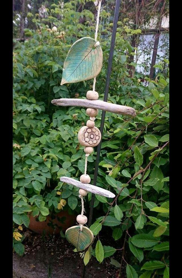 Windspiel Blätter Gartenkeramik Mat.Mix