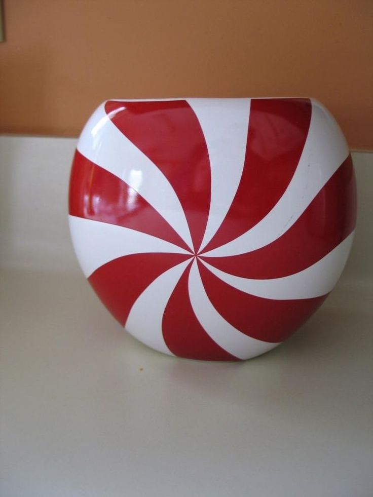 "Psychedelic Peppermint Swirl Red & White FTD Floral Flower Vase 5"" Groovy Trend #FTD #Modern"