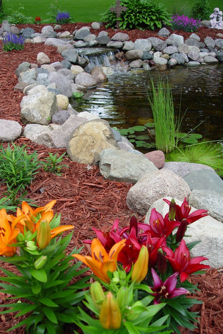 49 best fountains ponds water features images on pinterest for Pond edging ideas