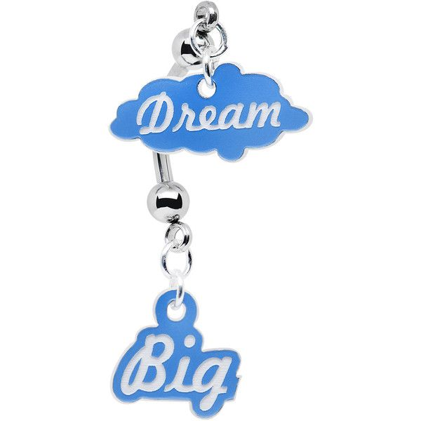 Blue and White Acrylic Dream Big Double Mount Belly Ring ❤ liked on Polyvore featuring jewelry, rings, piercings, acrylic jewelry, belly button rings jewelry, acrylic rings, belly rings and navel rings