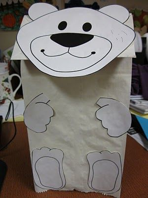 polar bear hand puppet printable FREE and polar bear poem (good for jump rope or other actions)