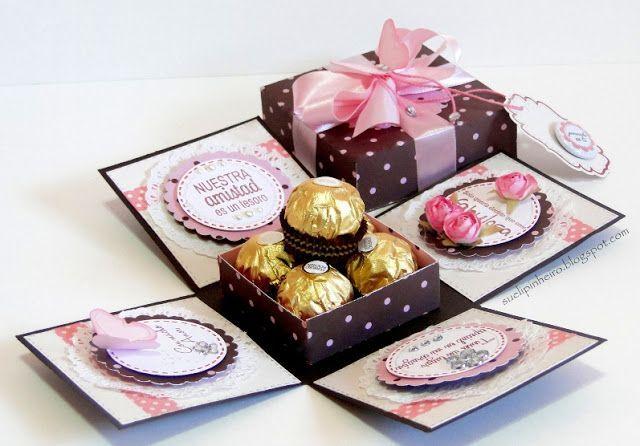 Explosion box with Ferrero Rochere chocolates inside.