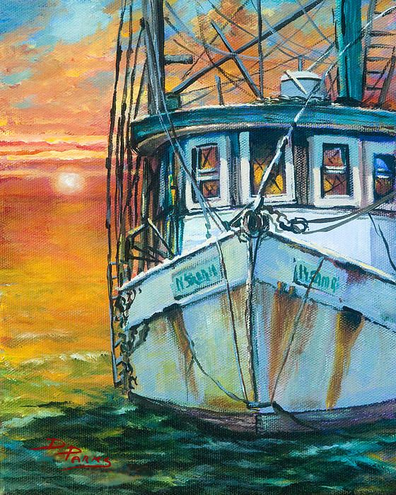 Gulf Coast Shrimper by Dianne Parks - Gulf Coast Shrimper Painting - Gulf Coast Shrimper Fine Art Prints and Posters for Sale