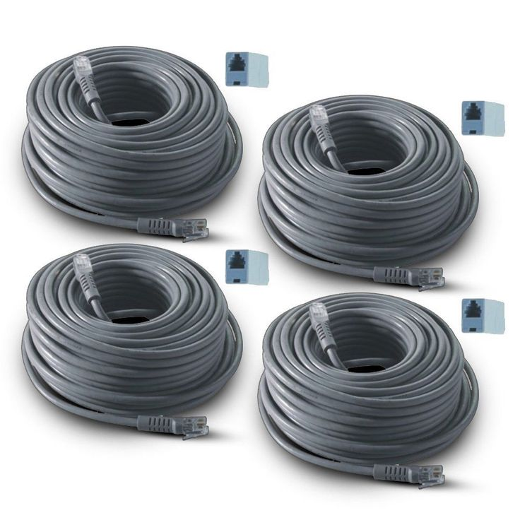 REVO CABLE RJ12 4-PACK 60ft ROLLS Camera Home Security System Video