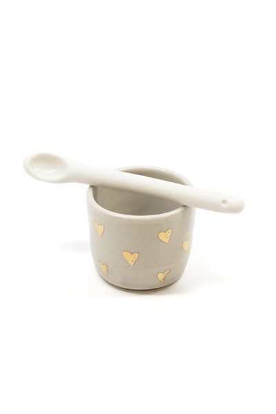 Handmade ceramic mini salt/spice holder and spoon.