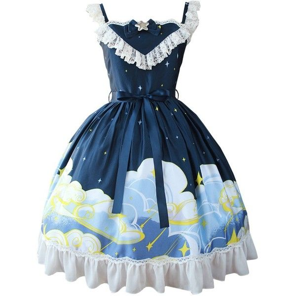 Partiss Womens Classic Star Sky Printed Sweet Lolita Dress Summer... ($90) ❤ liked on Polyvore featuring dresses, summer dresses, star dress, starry dress, blue color dress and blue summer dress