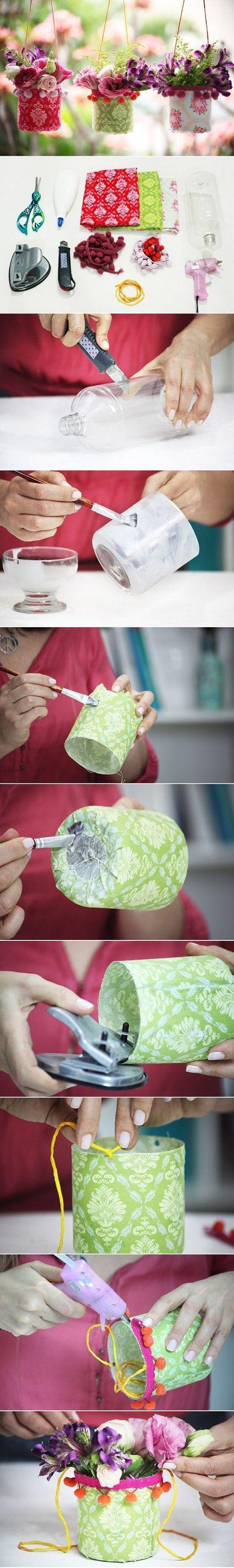 DIY Cute Plastic Bottle Hanging Vase / UsefulDIY.com