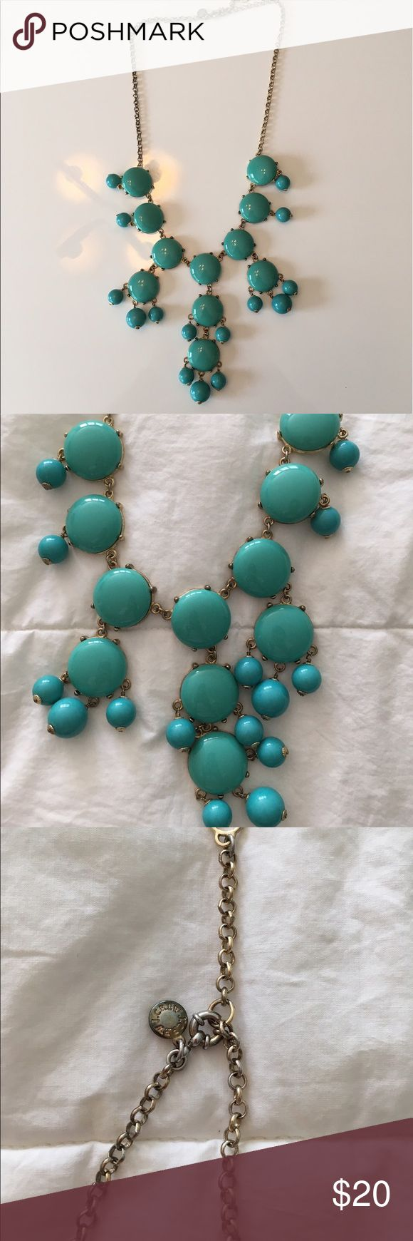 Jcrew retail turquoise bubble necklace The original statement necklace!  Retail jcrew bubble necklace in turquoise. Beautiful color, beautiful necklace!  Some rubbing of color on chain, most noticeable along back of neck as pictured. J. Crew Jewelry Necklaces