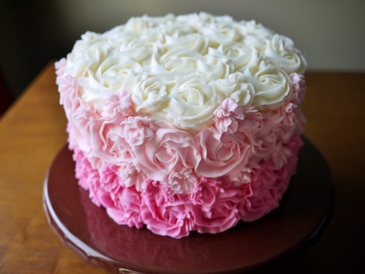 Cake Decorating Tips Roses : Pink Ombre Cake. Use Wilton 1M tip; I pried the end of it ...