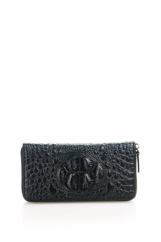 Leder Portemonnee met crocoprint zwart kleur