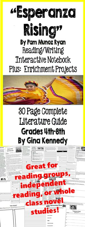 """No-Prep novel study for """"Esperanza Rising"""", a standards based interactive notebook literature guide with follow-up reading response questions for every chapter as well as vocabulary, writing projects, activities and enrichment projects. Teacher friendly engaging lessons to use with this award winning novel by Pam Munoz Ryan in your classroom while encouraging critical reading skills.$"""