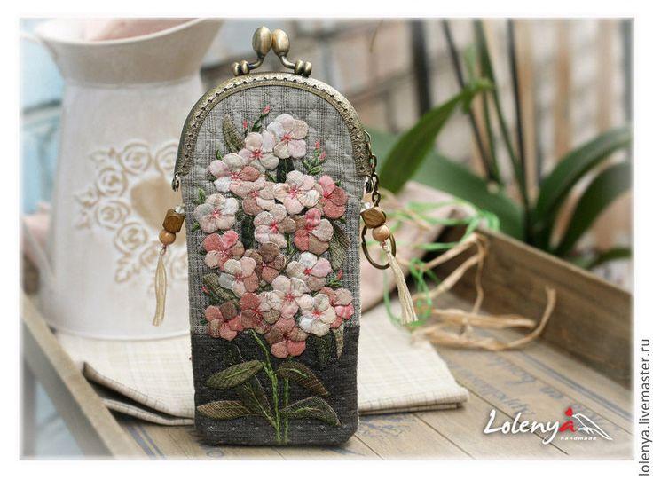 """Купить Футляр для очков """"Нежные флоксы"""" - бледно-розовый, японский пэчворк, аппликация из ткани"""