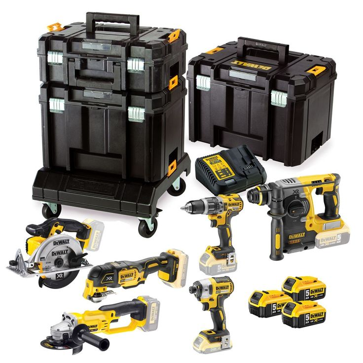 The Dewalt DCK654P3T is a comprehensive 6 piece set of premium cordless power tools featuring XR Lithium-Ion Technology. Comes packed in the full TSTAK storage solution with trolley