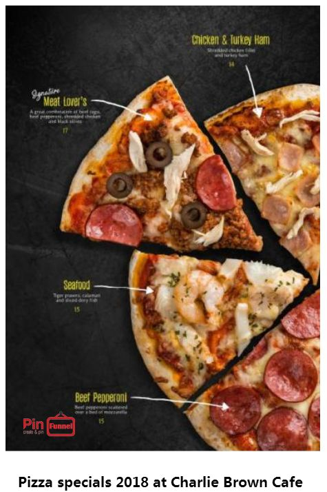 Seafood, Chicken and turkey ham pizza specials deal 2018 at Charlie Brown Cafe, Orchard Road, Singapore, the best comics themed cafe at Cathay Cineleisure Orchard. It is Singapore MUIS Halal certified restaurant and cafe.