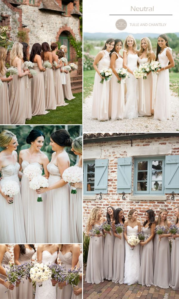 neutral nude bridesmaid gowns for autumn wedding 2015