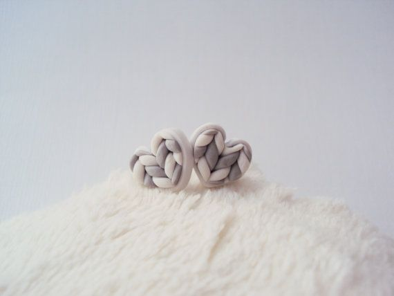 Gray Knitted Heart Earring Studs Polymer Clay / by MyMiniMunchies, $14.00. Polymer clay earrings. Fimo. Polymer clay jewelry.