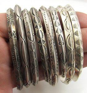 Sterling silver Native American cuff bracelets