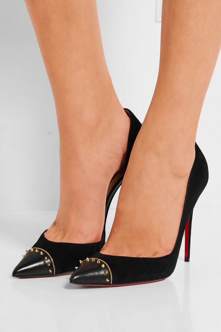 Christian Louboutin | Culturella 100 embellished suede and leather ...