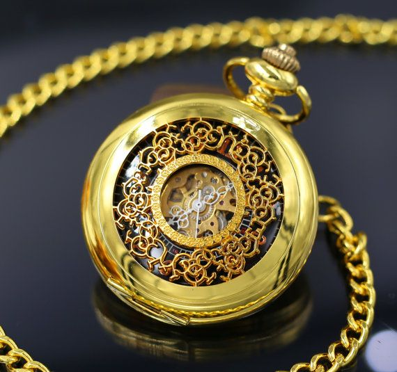 Set of 5 Engravable Golden Pocket Watch by PocketWatchEngraved