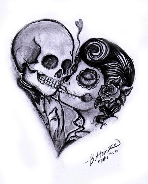 Day of the dead heart couple.