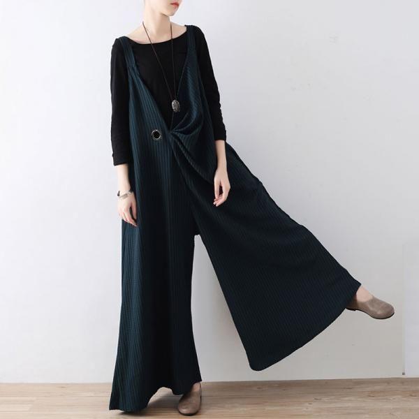 Deep-V Striped Blackish Green Jumpsuits Designer Wide Leg Womens Dungarees  #plussize #stripes #jumpsuits #wideleg #Dungarees