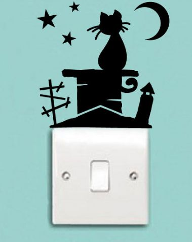 Light switch Vinyl Decal Cat on Roof Chimney with Moon and Stars