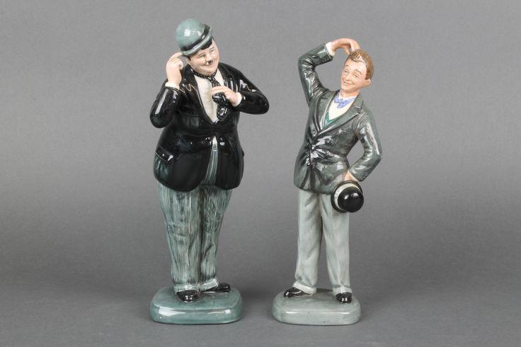 """Lot 10, 2 Royal Doulton figures - Stan Laurel HN2774 9"""" and Oliver Hardy HN2775 9"""", sold for £160"""