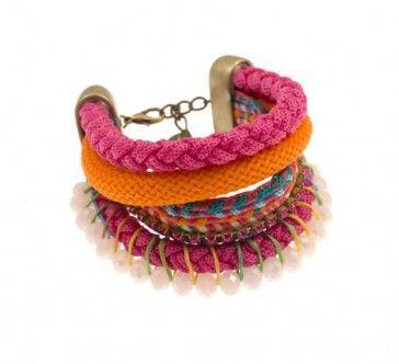 Bracelet with rope and Swarovski strasses, by Art Wear Dimitriadis -Handmade-