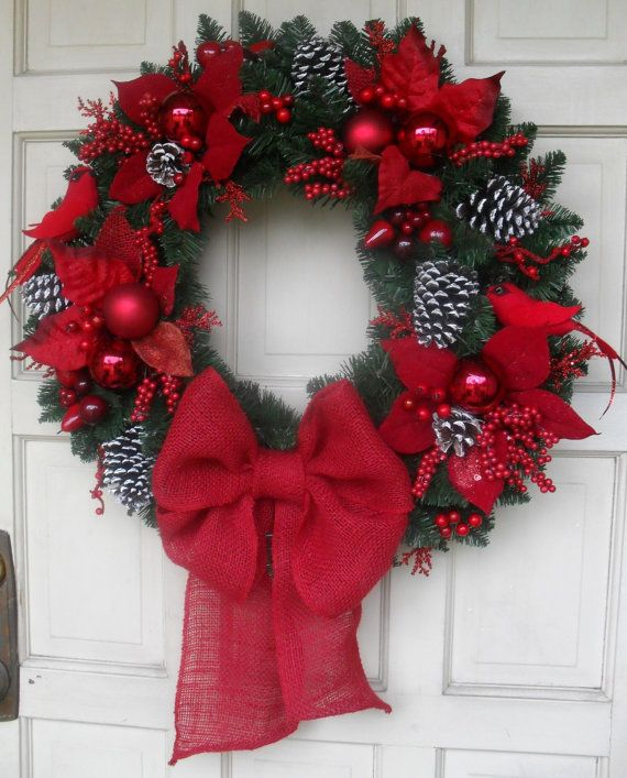 """NEW DESIGN 2013 - Beautiful 25"""" Red Cardinal & Poinsetta Traditional Style Christmas Wreath"""