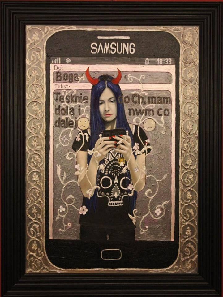 """,,SMS do Boga"""" 2013-15r. olej-akryl na płótnie, 100x70cm. Kolekcja Galerii BWA Bielsko Biała. Uczestniczył w 42. Biennale Malarstwa """"Bielska Jesień 2015"""" w Bielsku-Białej"""