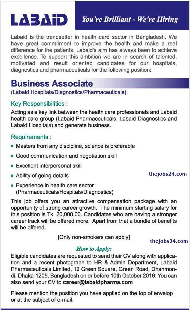 Business Associate  Labaid Pharmaceuticals Limited Job Circular