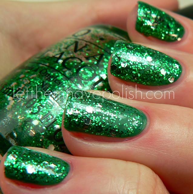 OPI Fresh Frog of Bel-Air over OPI Jade is the New Black