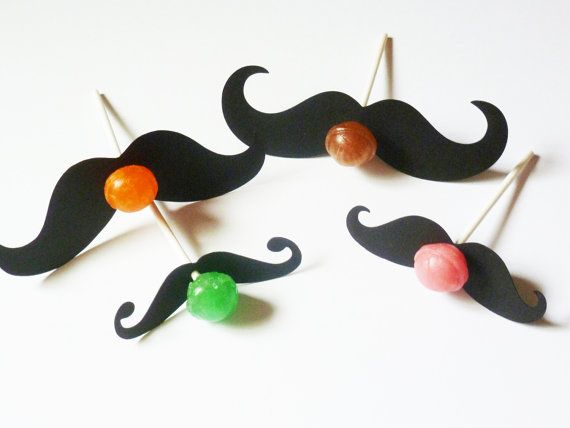 Party Favors (40 PCS) dum dum pops suckers mustaches birthday Party little man bash wedding moustache mustashe stache gifts. $10.00, via Etsy.