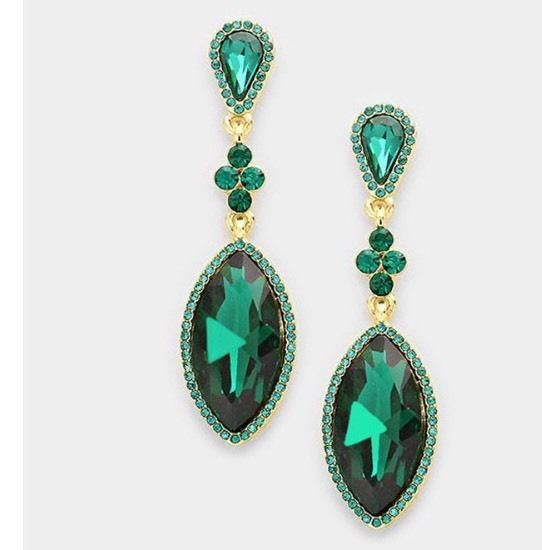 "2.5"" Green Emerald Gold Long Teardrop Crystal Pageant Bridal Earrings Formal #Unbranded #Chandelier"