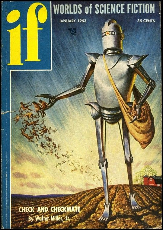 if science fiction magazine 1953 cover http://www.warpedspacescifi.com/