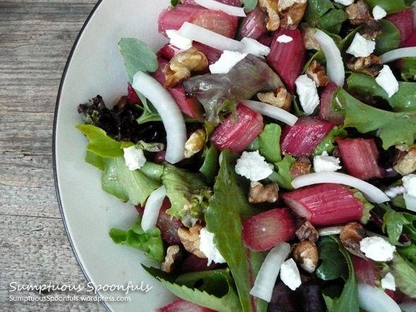 Rhubarb Salad with Gorgonzola & Goat Cheese