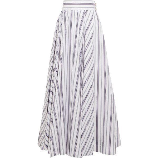 A.W.A.K.E. Striped cotton-poplin maxi skirt found on Polyvore featuring skirts, awake, white, button skirt, ankle length skirts, stripe long skirt, long striped skirt and striped maxi skirts