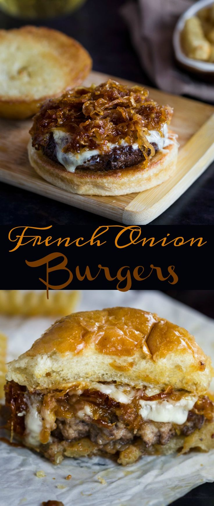 These extra juicy, perfectly cooked burgers are topped with melted Gruyere cheese, caramelized onions, and are served over golden burger buns.