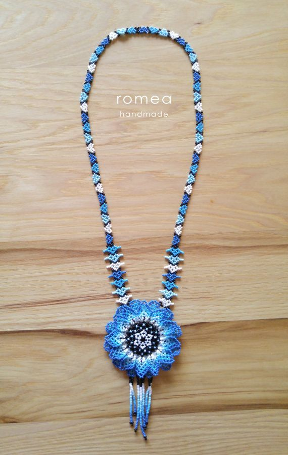 Huichol Beaded Necklaces - Art - Mexican Style - Romea Accessories - Chaquiras - 3D Flower - Handmade - Light blue - Blue - Colors