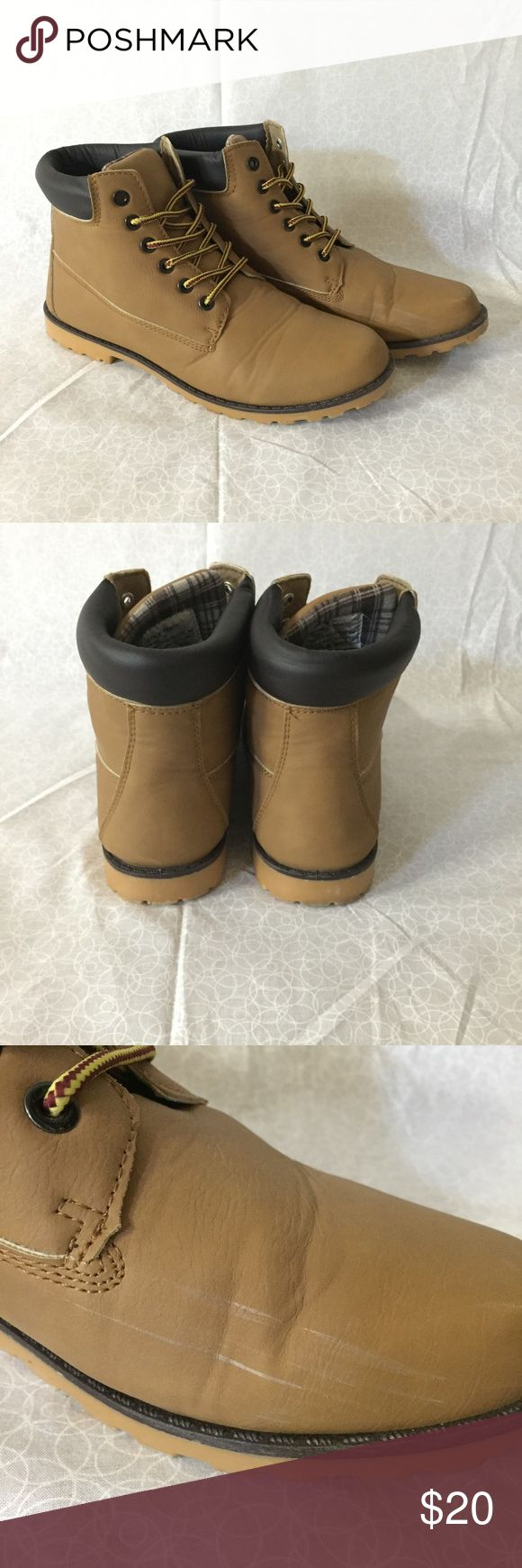Timberland style boots •Timberland-style boots but not so expensive! •purchased them from Wet Seal •slight scuff marks but not very noticeable •super comfy - they kinda feel like slippers or UGGs! •selling because they're too big for me •good condition •size 11 •no trading •no Mercari •price negotiable Wet Seal Shoes Combat & Moto Boots