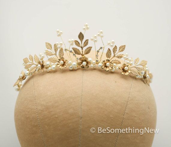 Gold Wedding Crown Woodland Queen Wedding by BeSomethingNew