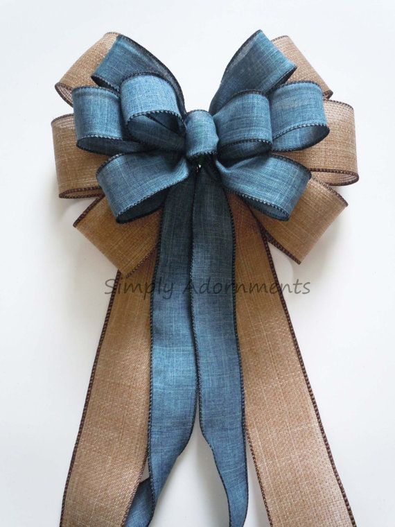 Burlap Denim Wedding Pew Bow by SimplyAdornmentsss