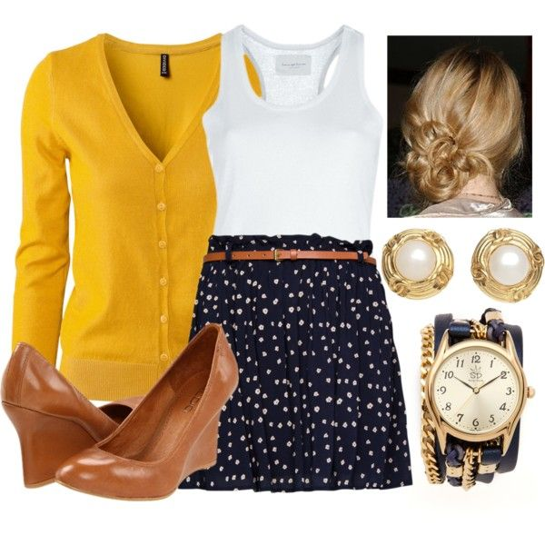 Here is a yellow cardigan with a white top and patterned blue skirt......the pearl earrings add the final touch.