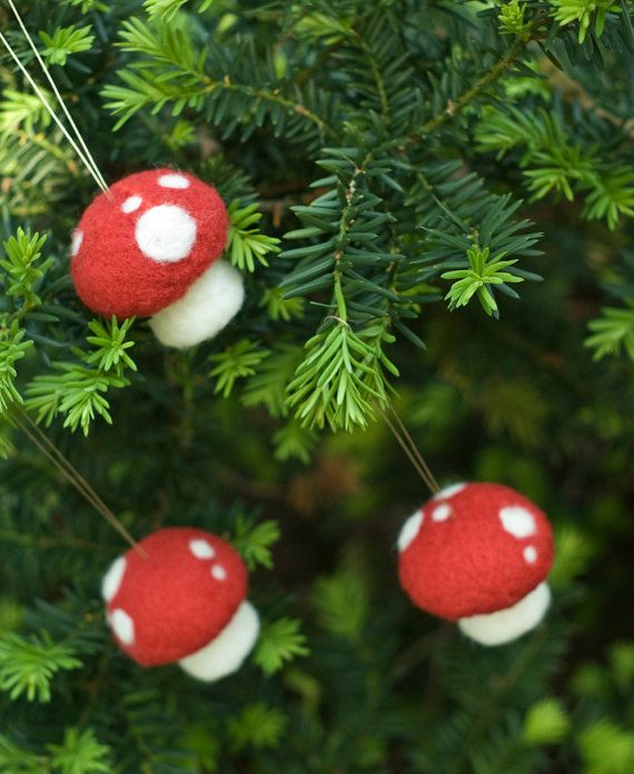 Needle Felted Ornament  Pack of Three Toadstools by scratchcraft, $27.00