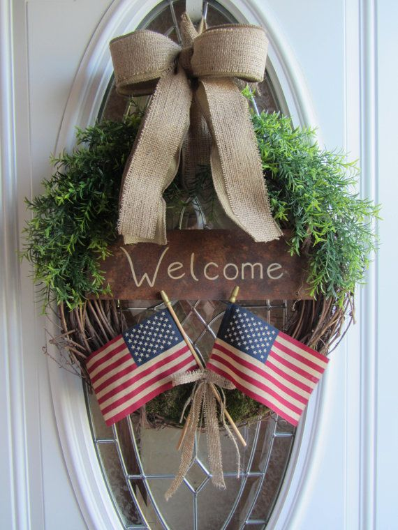 Patriotic Wreath - 4th of July Wreath - Summer Wreath - American Wreath                                                                                                                                                                                 More